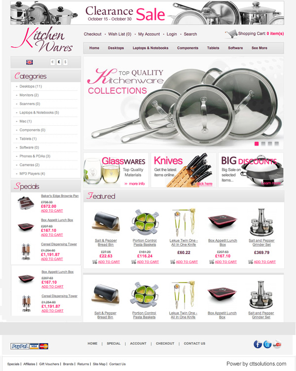 kitchenwares store by cttsolutions web designer in Miami